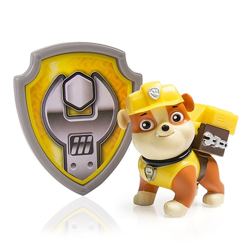 Paw Patrol Figurine and Badge Set - Rubble
