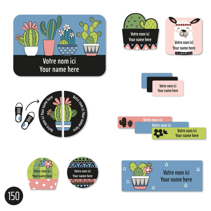Peel And Stick Name Labels - Cactus