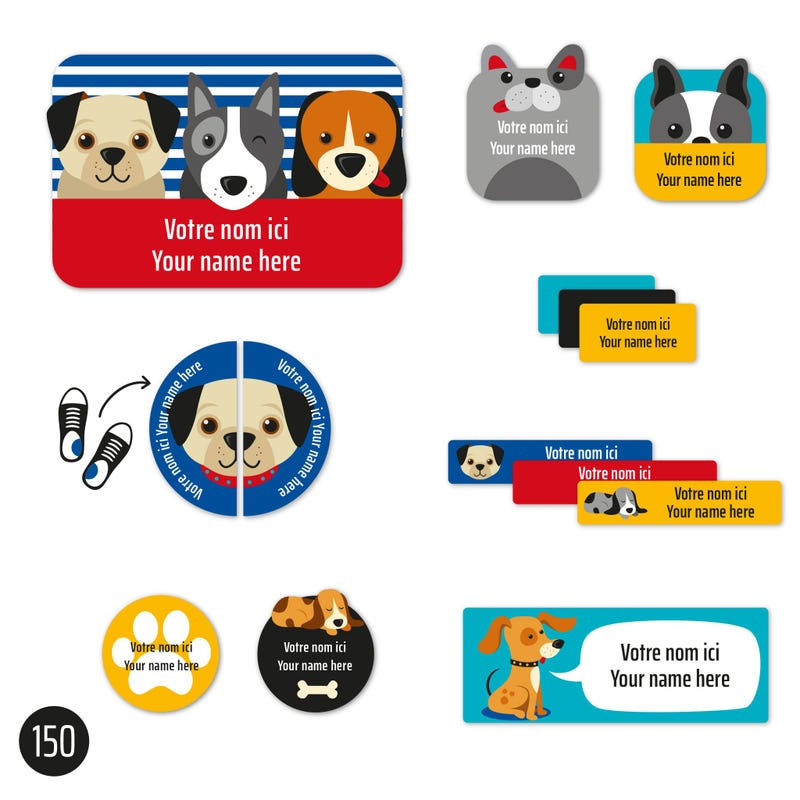 Peel And Stick Name Labels - Blue Dog