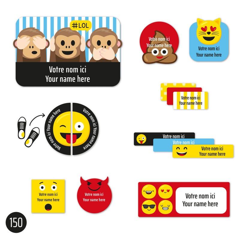 Peel And Stick Name Labels - Emoji