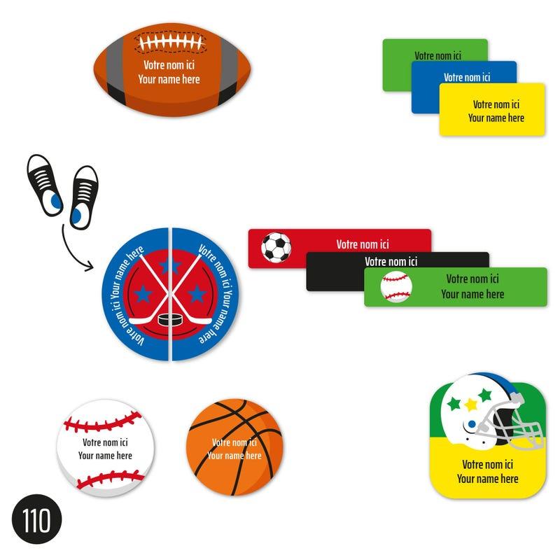 Étiquettes Garderie - Sports