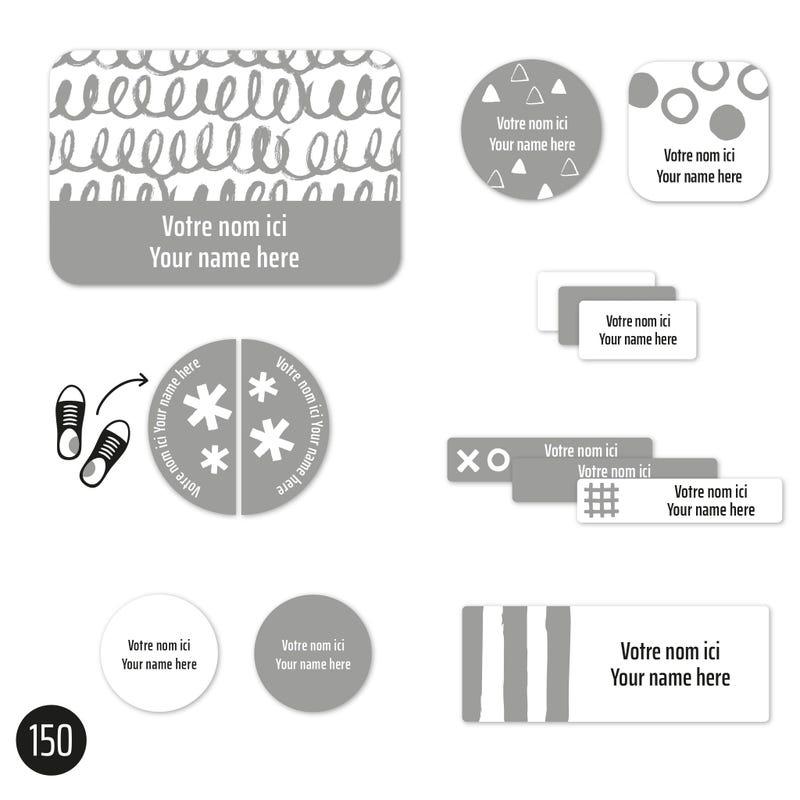 Essential Labels - Grey patterns