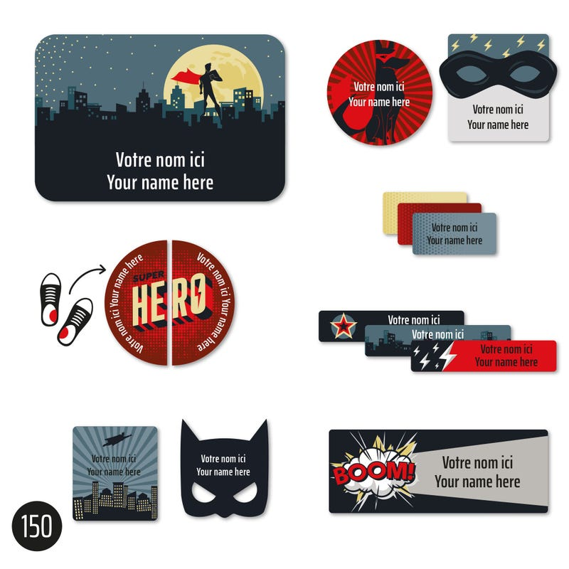Peel And Stick Name Labels - Super heros