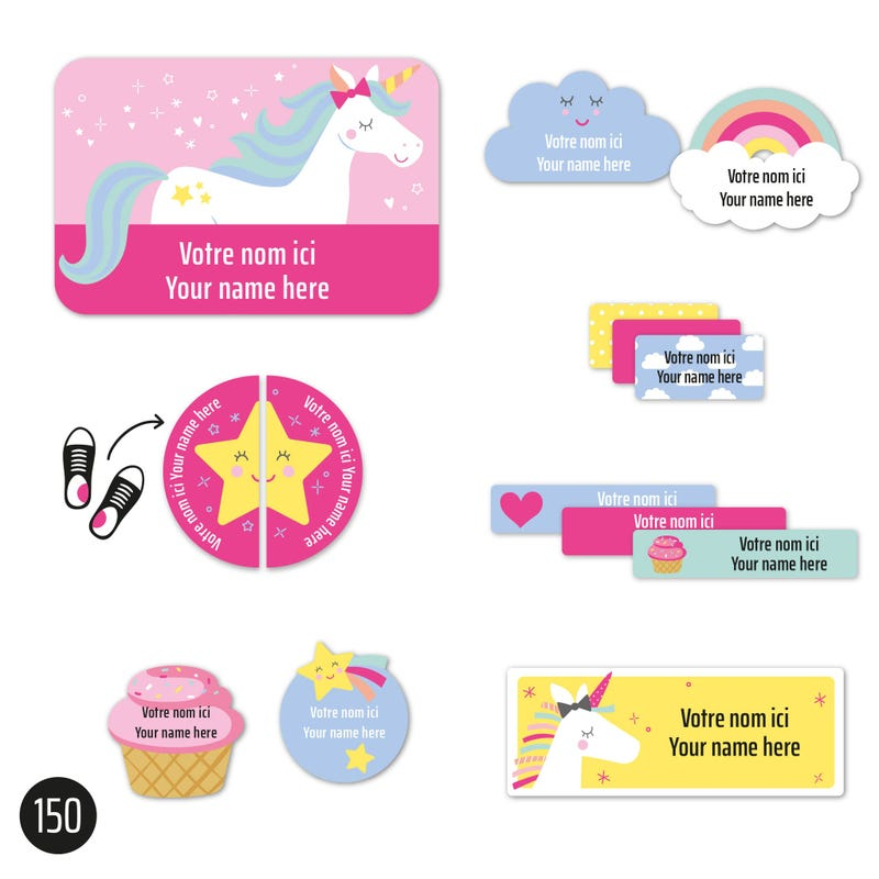 Peel And Stick Name Labels - Unicorn