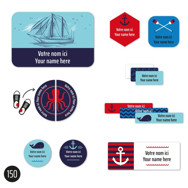 Peel And Stick Name Labels – Nautical