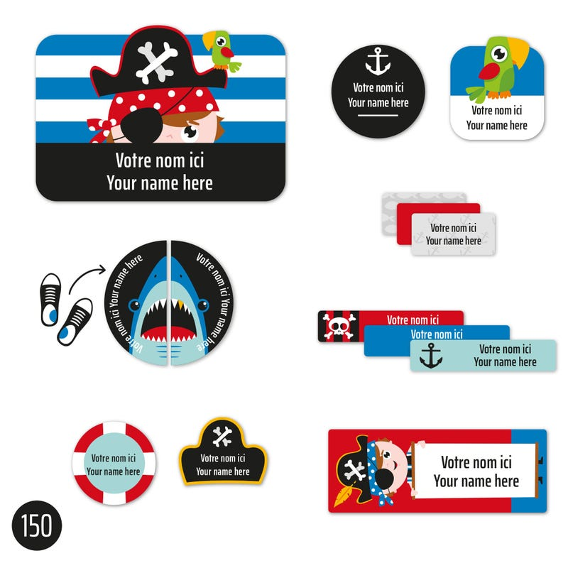 Peel And Stick Name Labels – Pirates