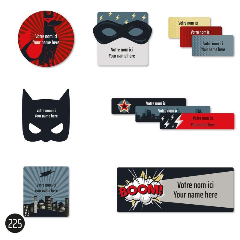 School labels - Superheros