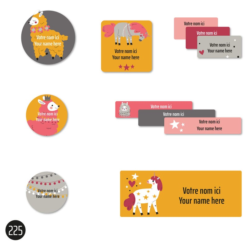 School Labels - Llamas