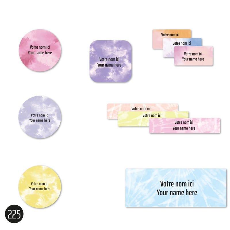 Étiquettes Scolaire - Tie-Dye 1