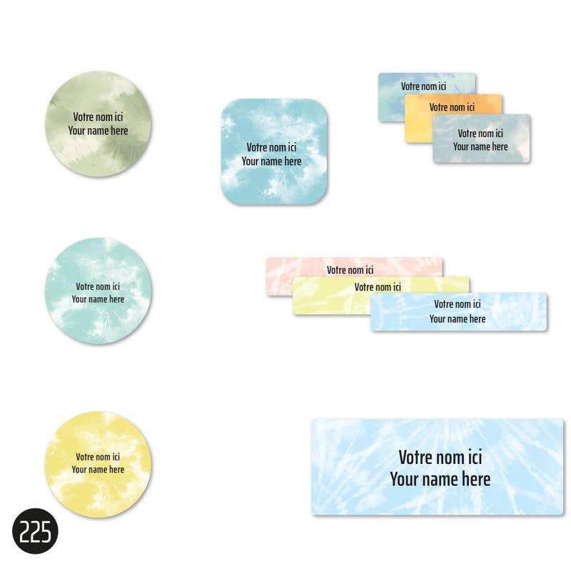 Étiquettes Scolaire - Tie-Dye 2