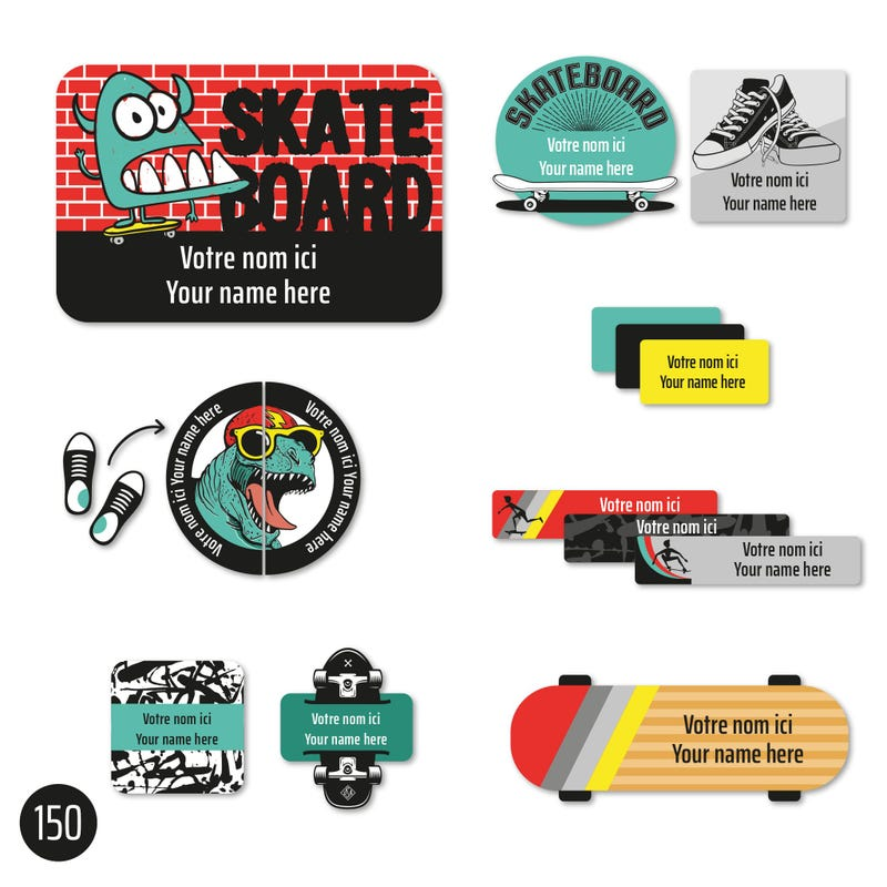 Peel And Stick Name Label - Skate