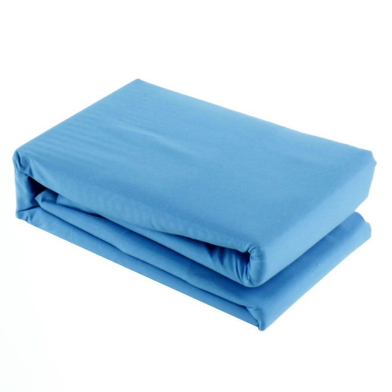 Jupe de Lit Simple ou Double Ajustable - Bleu