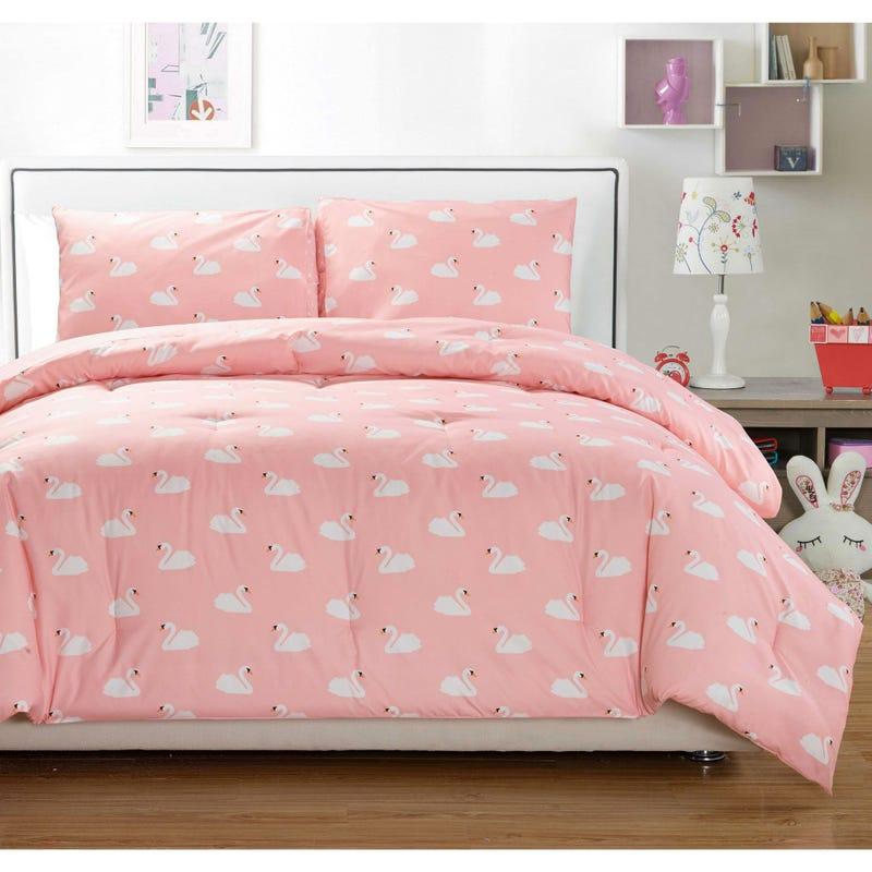 Twin Comforter Set  -  Co Pink Swan