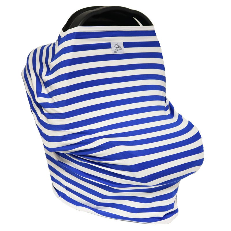 3 in 1 Car Seat Cover/Nursing Scarf - Blue Lines