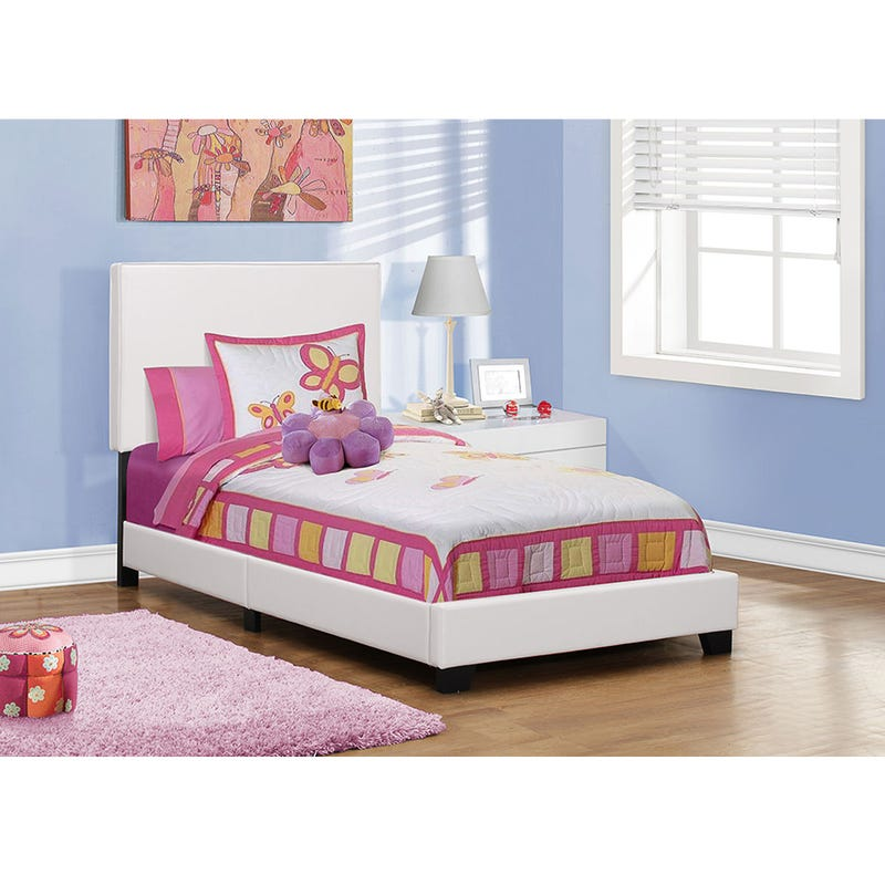 Twin Bed Leather-Look - White
