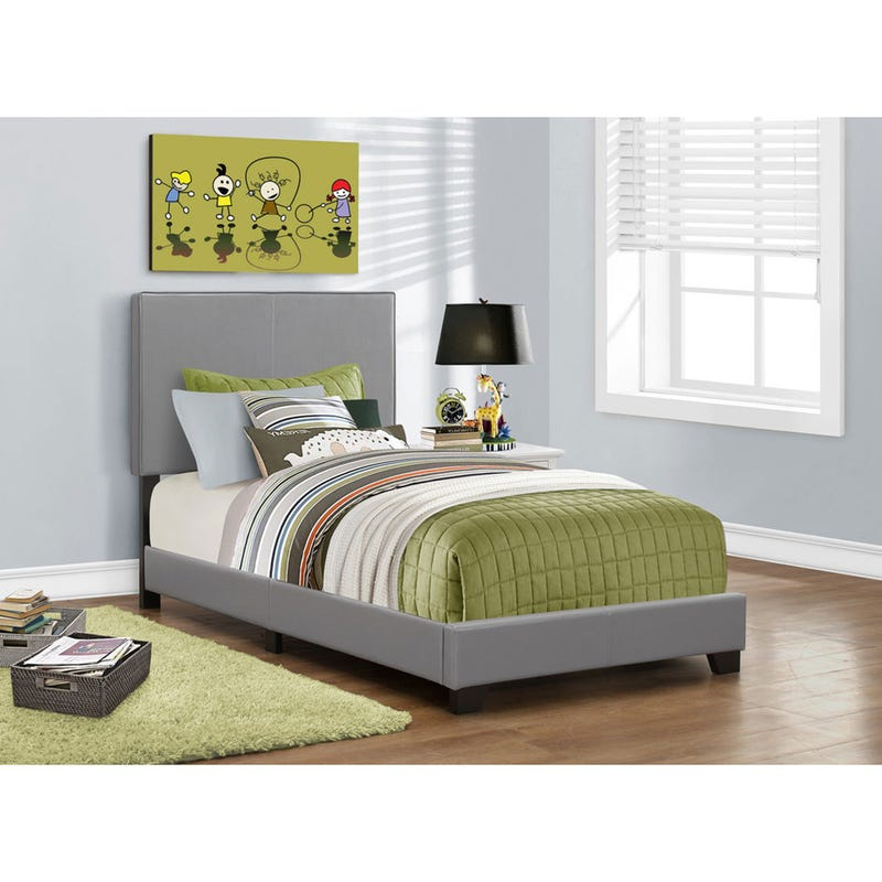Twin Bed Leather-Look - Gray