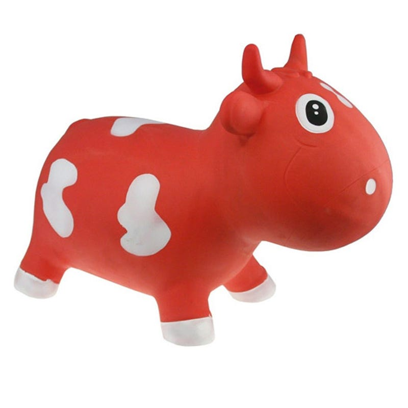 Farm Hoppers Jumping Animals - Red/White Cow