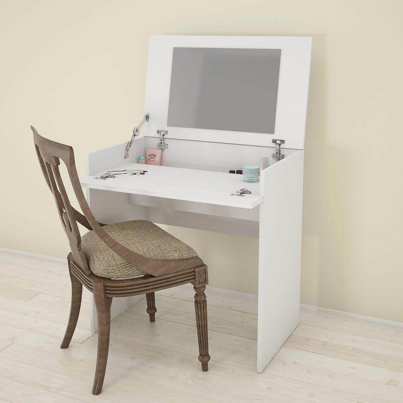 Maquilleuse Avec Miroir/Bureau Bali - Blanc