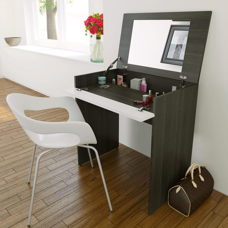 Allure Vanity with mirror / Writing Desk - Ebony and White