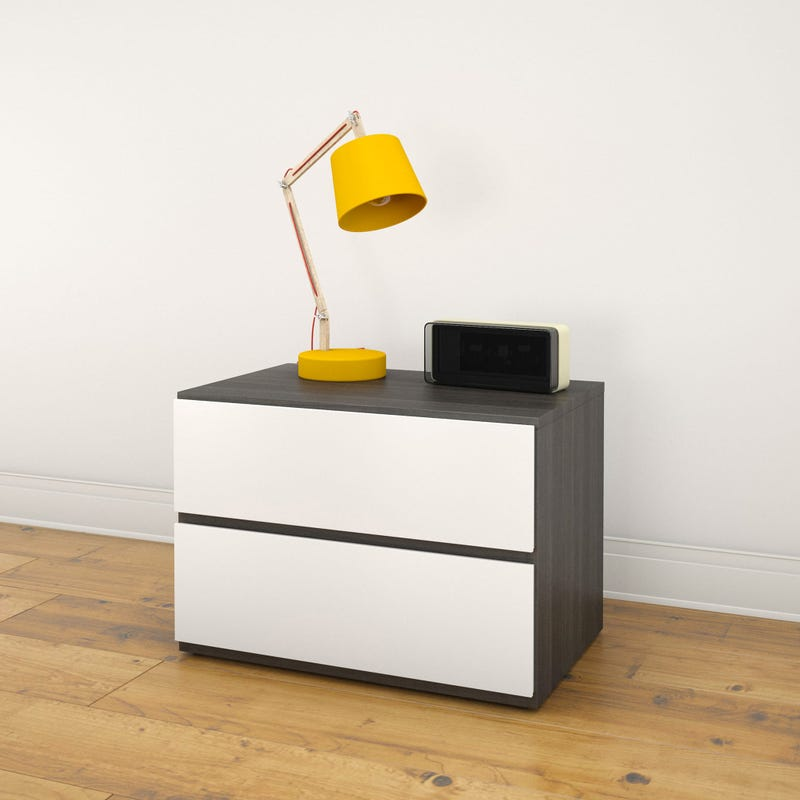 Acapella Nightstand - Ebony and White