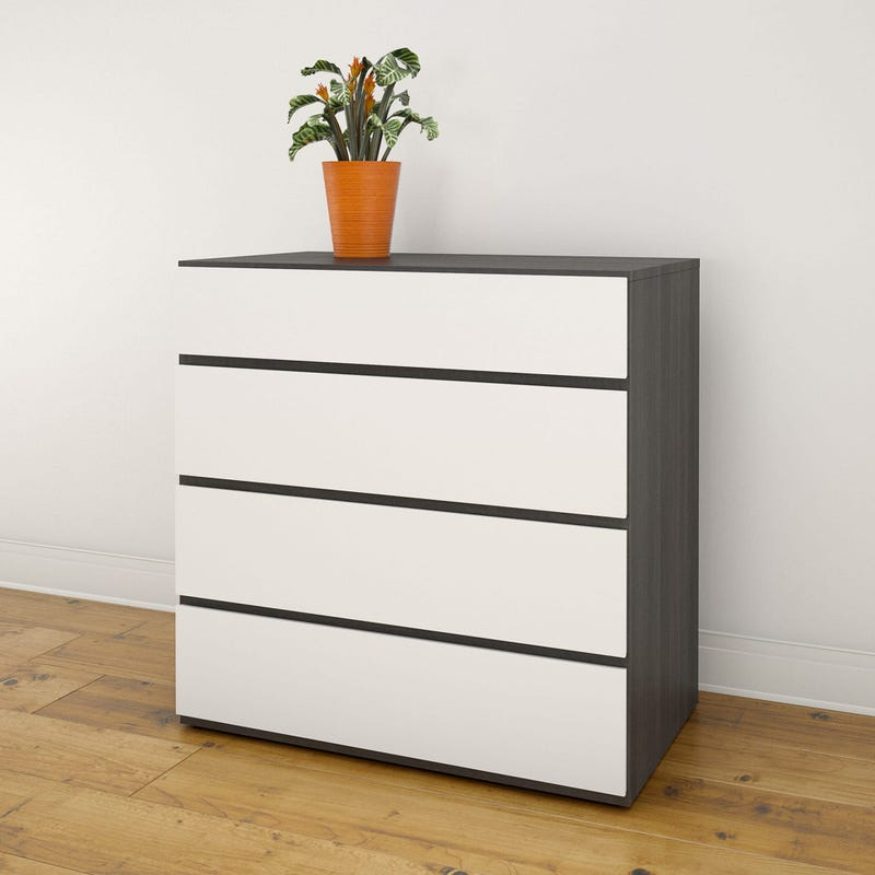 Acapella 4-Drawer Chest -Ebony and White