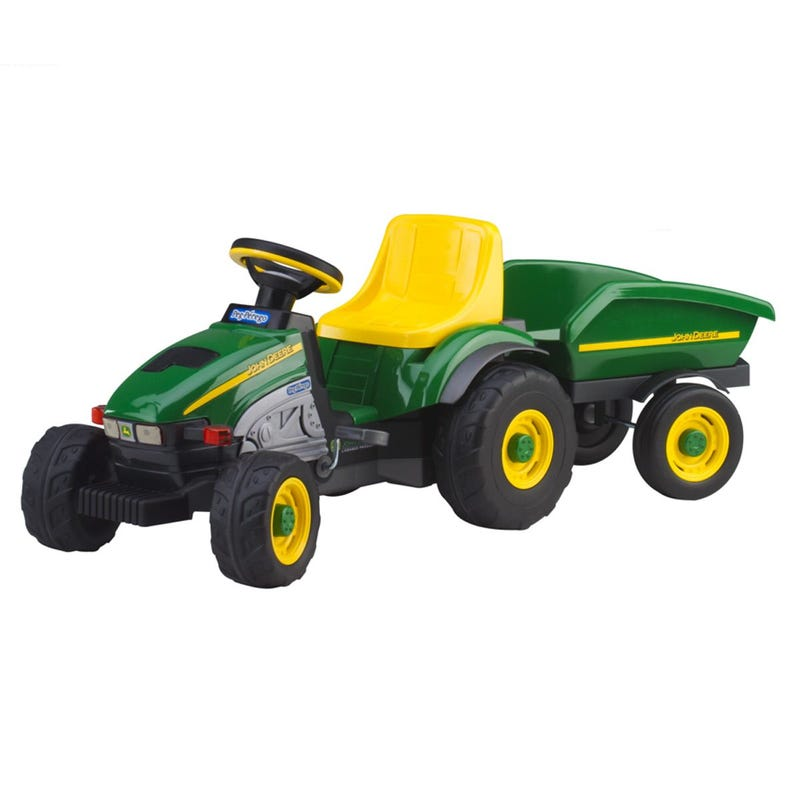 John Deer Power Pull Little Tractor With Trailer - Green & Yellow