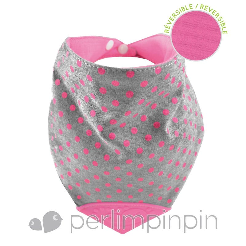 Bavoir de Dentition Coton - Pois/Rose