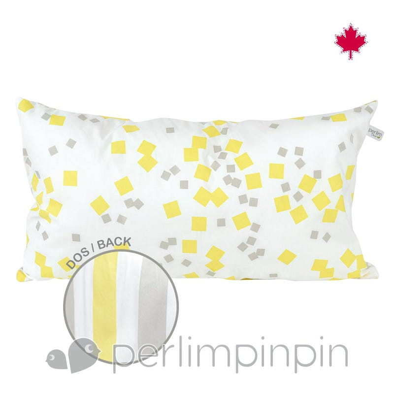 Reversible Rectangular Cushion - Yellow Square