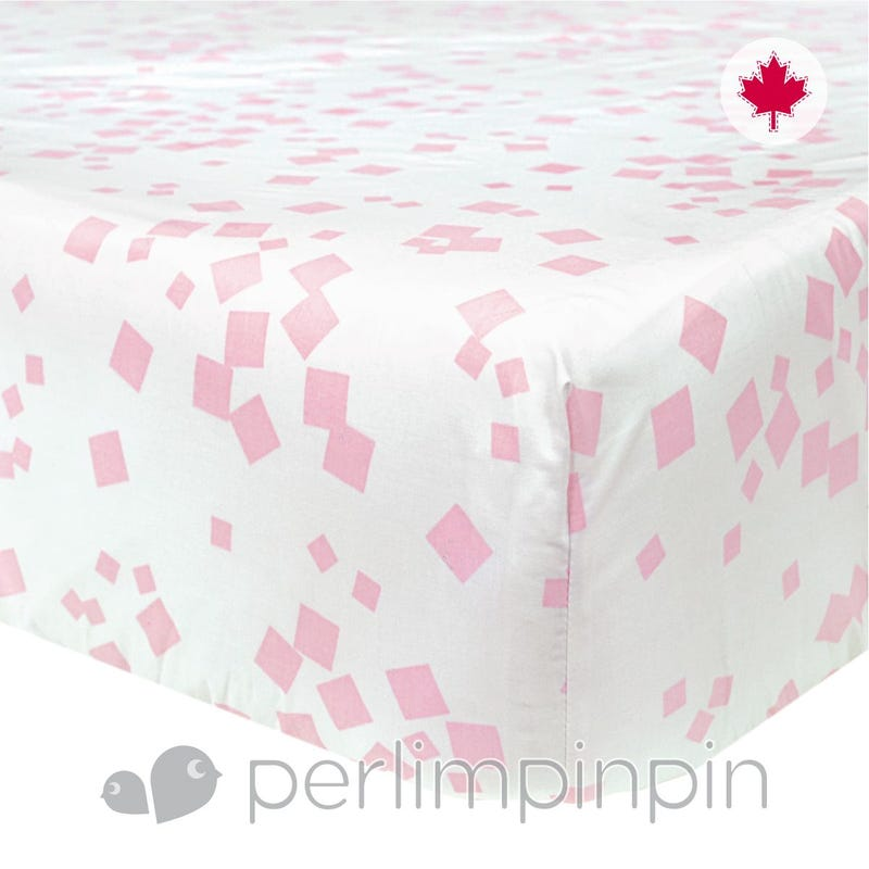 Crib Fitted Sheet Square - Pink