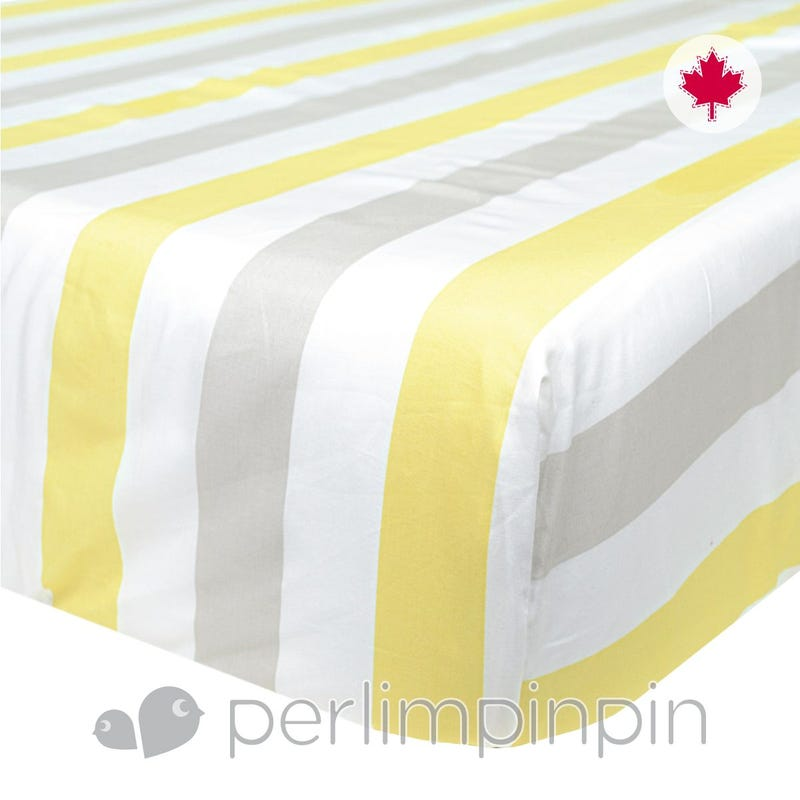 Crib Fitted Sheet Stripes - Yellow