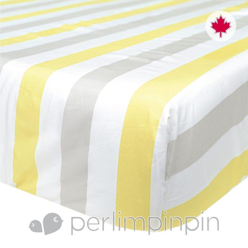 Crib Flat Sheet Stripes - Yellow