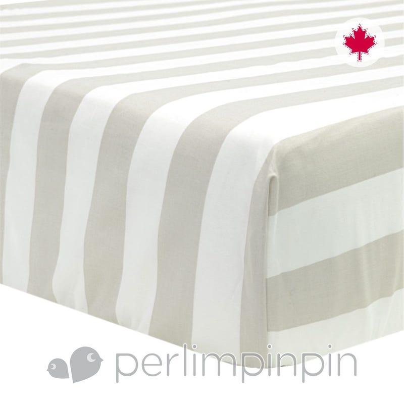 Crib Flat Sheet Stripes - Taupe