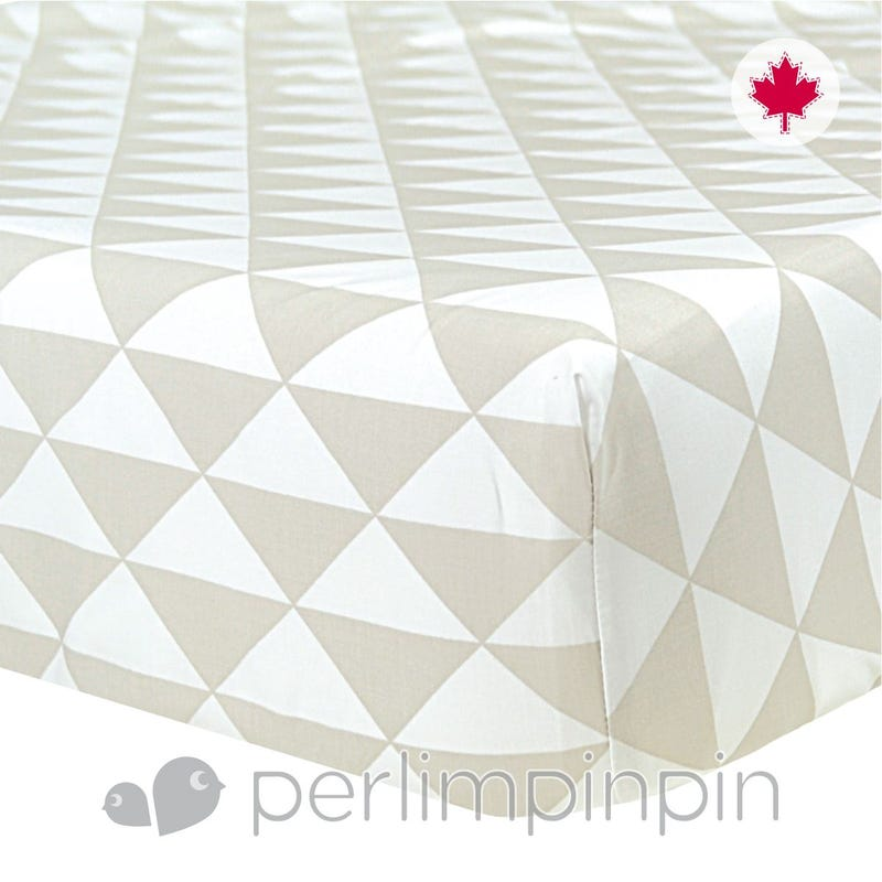 Crib Flat Sheet Triangle - Taupe