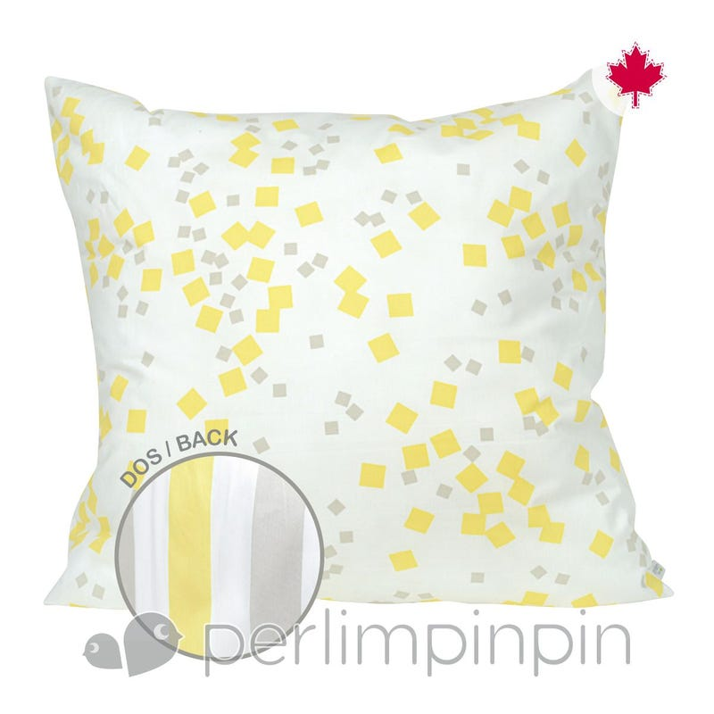 Reversible Large Cushion - Yellow Square