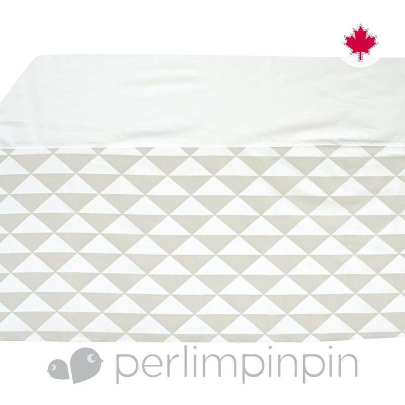 Printed Bed Skirt  Triangle - Taupe