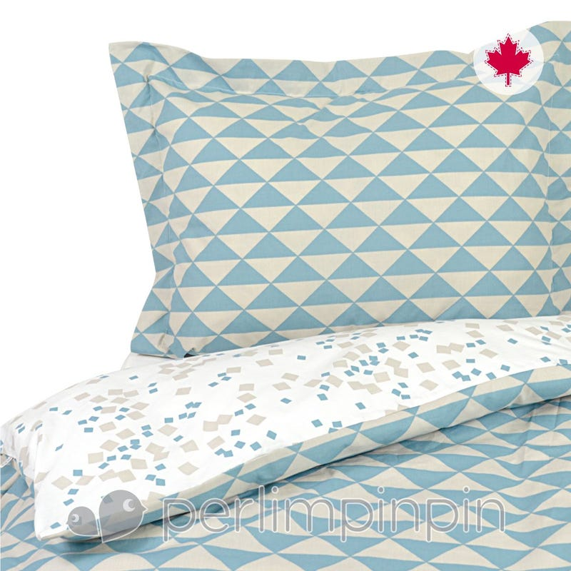 Double Duvet Cover Triangle  - Blue
