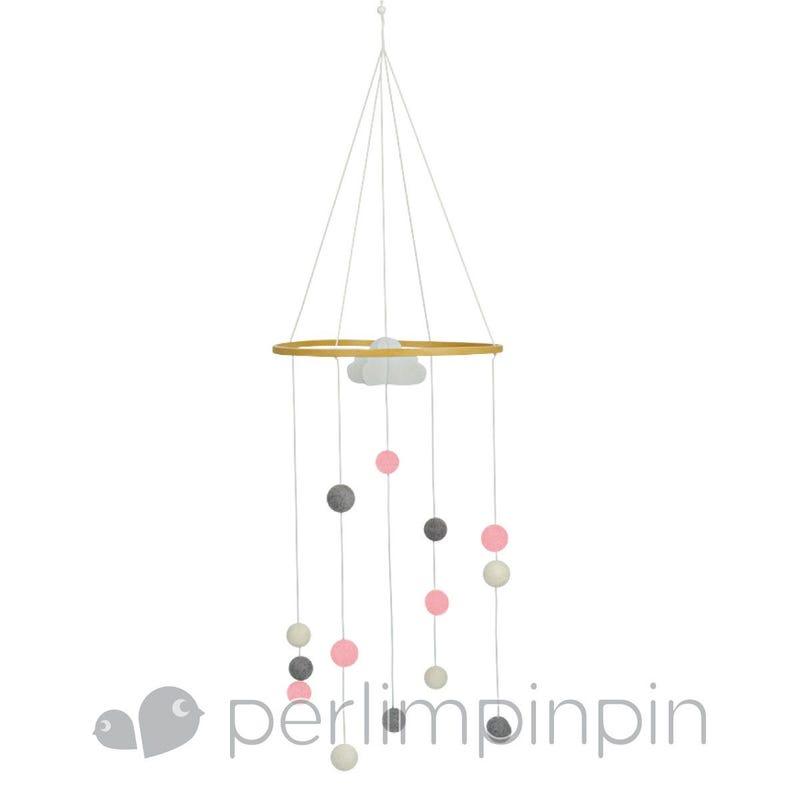 Mobile Decoratif Pompons Rose