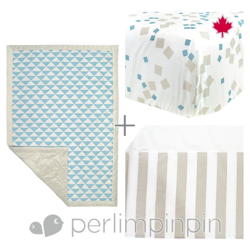 3 Pieces Crib Set Triangle - Blue