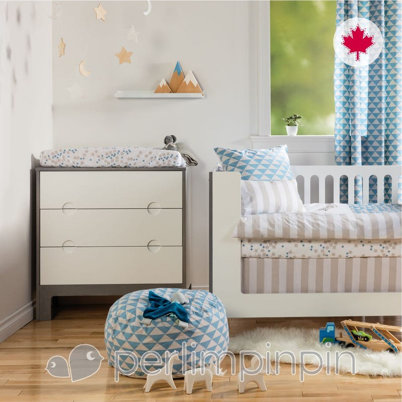 5 Pieces Crib  Set Triangle And Dog - - Blue