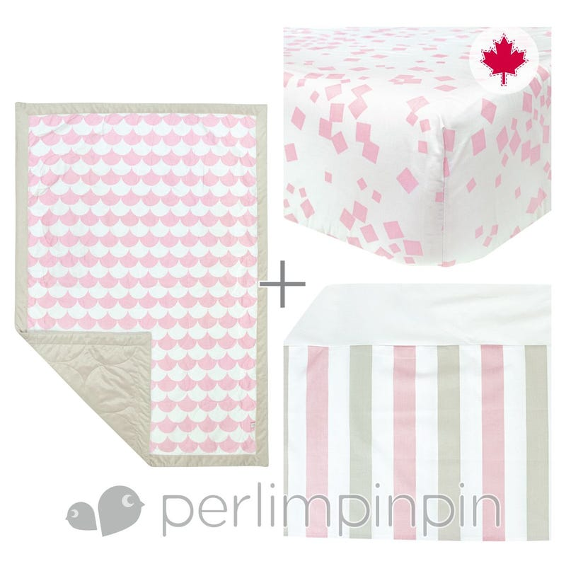 3 Pieces Crib Set - Pink
