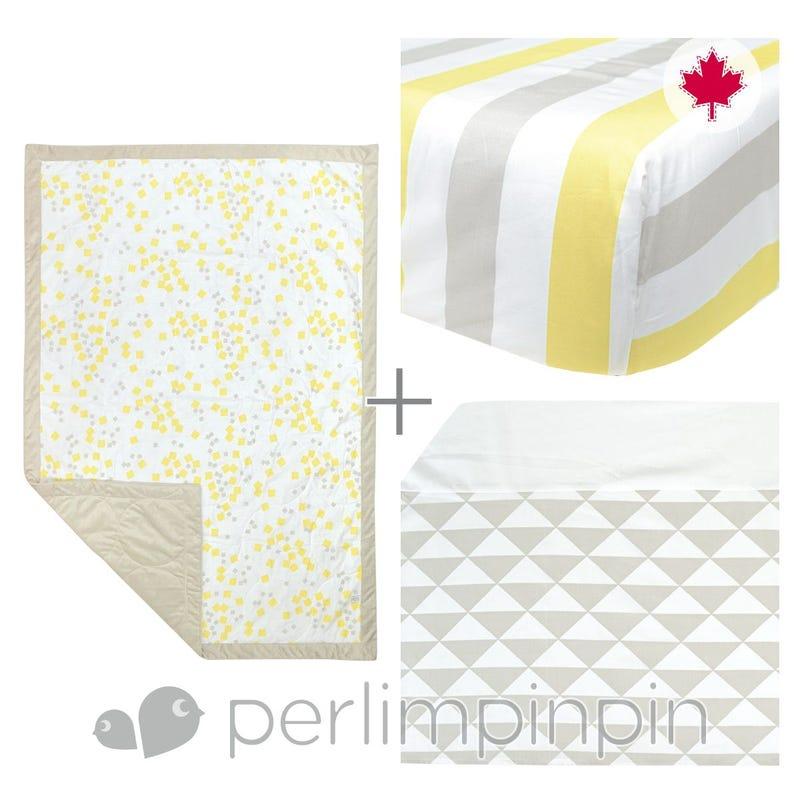 3 Pieces Crib Set -  Yellow Square