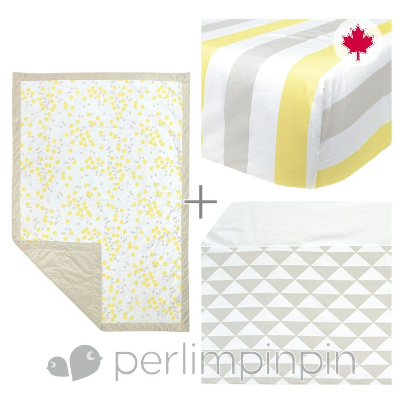 3 Pieces Crib Set -  Yellow Square
