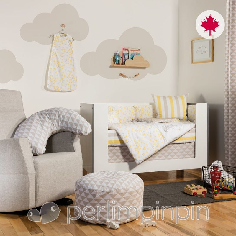 4 Pieces Crib Set - Yellow Square And Fox