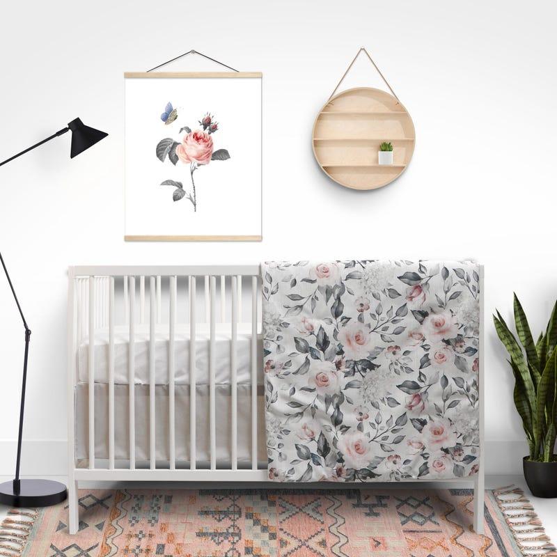 3-Piece Crib Bedding - Dynasty Flowers