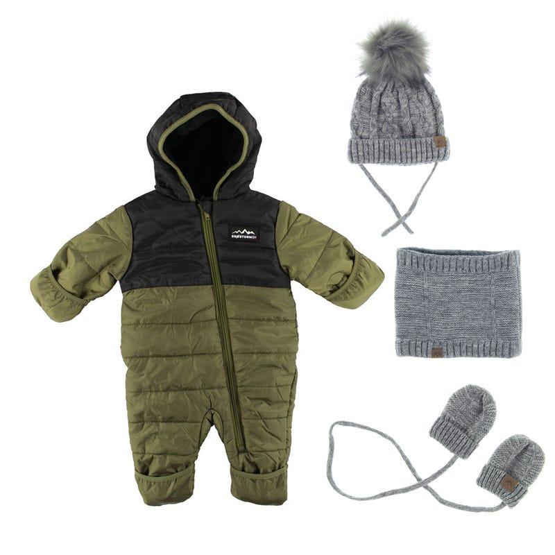 Bundle Snowsuit and Accessories  3/24M - OLIVE
