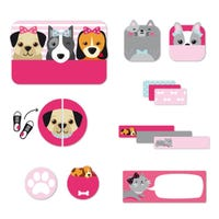 Peel And Stick Name Labels - Pink Dog