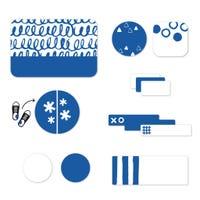 Étiquettes Essentiel - Motifs bleus