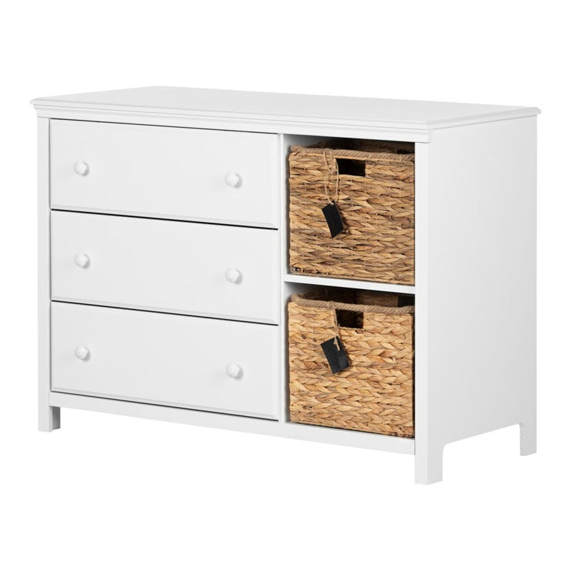 Commode 3 Tiroirs avec Paniers Cotton Candy - Blanc Solide