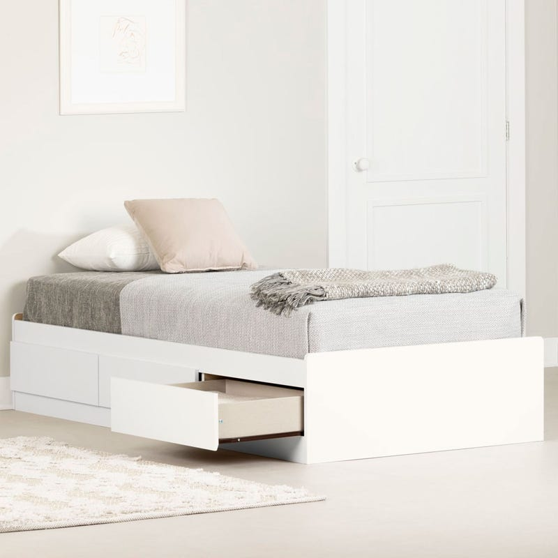 Mates Twin Bed with 3 drawers - Pure White