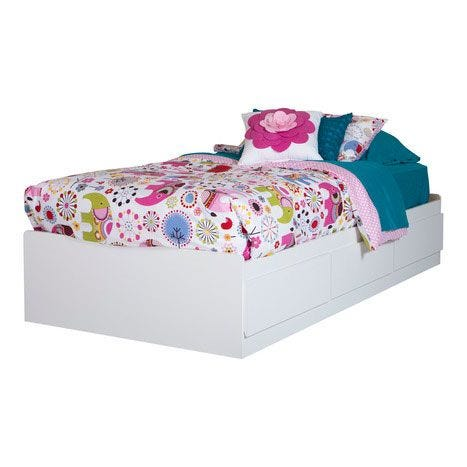 Vito Twin Mates Bed with 3 Drawers - Pure White